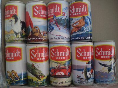 Set of 9 colourful old Steel cans from Schmidts Beer