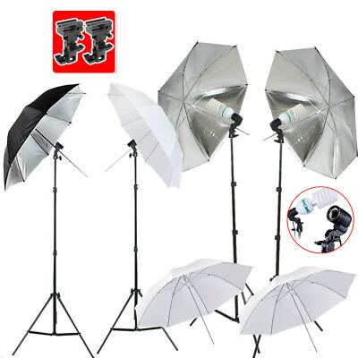 1350W Photo Studio Softbox Lighting Umbrella Flash Mount Light Stand Bracket Kit