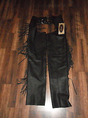 River Road NWT NEW WITH TAGS leather fringed Chaps Size 6 Free Shipping