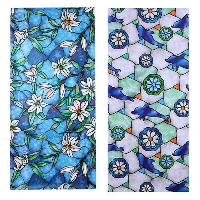 Static Cling Cover Stained Flower Window Film Glass Privacy Home Decor 45x100cm