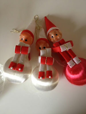 Vintage 3 x Christmas Elves Decorations Hanging Ornaments  Retro Xmas