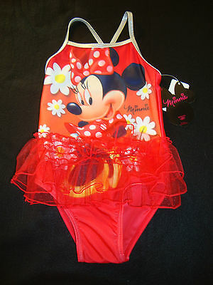 DISNEY MINNIE  MOUSE   SWIMSUIT NWT  RED with WHITE DAISIES
