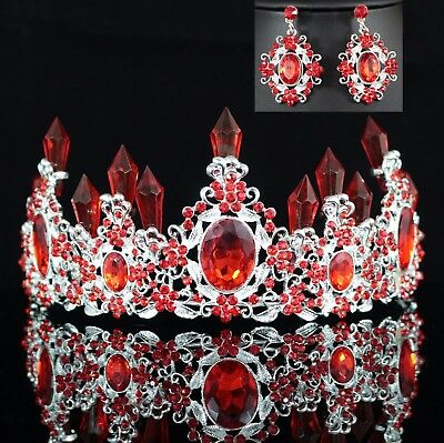Queen Floral Red Austrian Rhinestone Crystal Tiara Crown Set Bridal Prom T7R