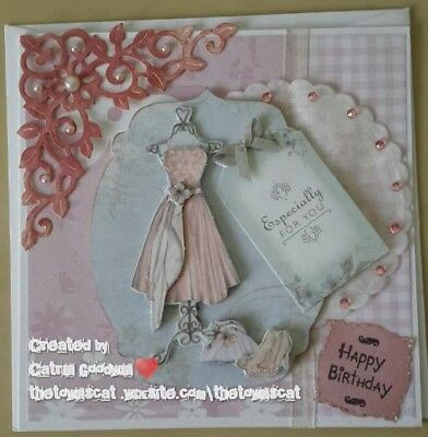 handmade birthday cards female, Papermania, bellisima, dress