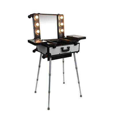 Justine Makeup Station With Lights Silver