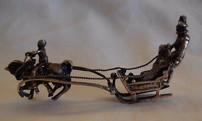 An Antique Silver Plated Sleigh With Horse, By J.i.w.