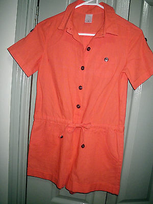Girls 10 NEW Orange Linen Short Sleeve Playsuit  -  Target