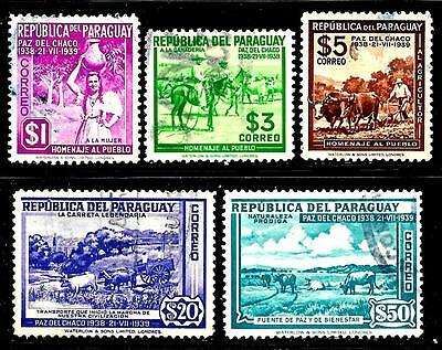 Latin America PARAGUAY 1939 Old High Value Up to $ 50 Stamps-Lady,Cowboy,Farmer