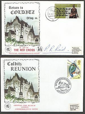 Pair of Colditz Red Cross Commemorative Covers. One signed by Major Pat Reid.
