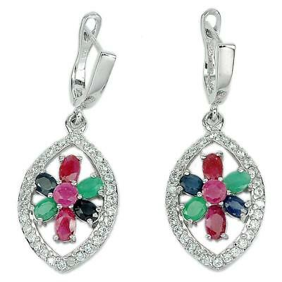 7.67 G. Natural Ruby Sapphire Emerald Gems Real 925 Sterling Silver Earrings