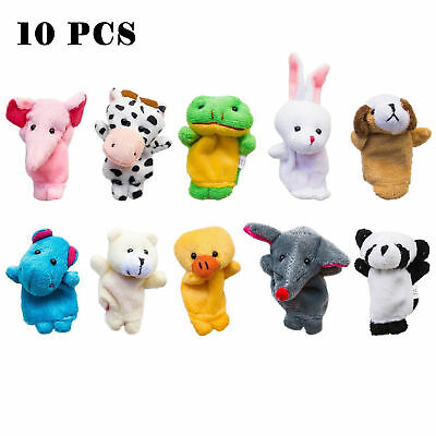 10Pcs Finger Puppets Cloth Plush Doll Baby Educational Hand Cartoon Animal Toy !