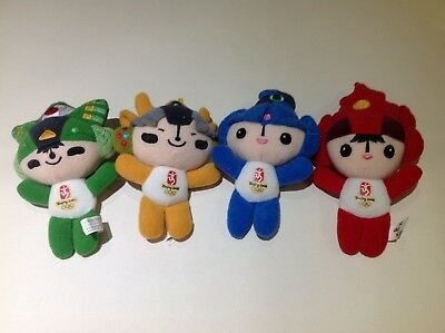 "Set of 4 Collectable Beijing 2008 Olympics 5"" Plush Mascots"