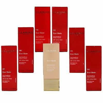 Clarins Ever Matte Foundation Skin Balancing Oil Free SPF Skin Medium Coverage