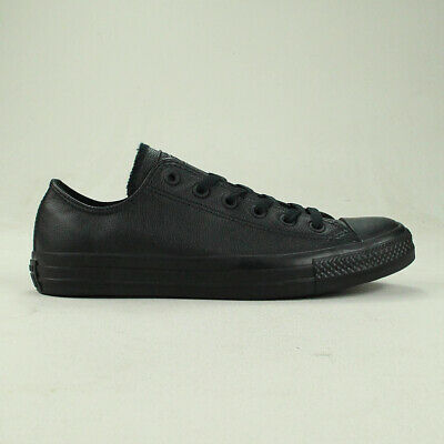 Converse All Star Ox Leather in Black Mono Trainers UK Size 3,4,5,6,7,8,9,10,11