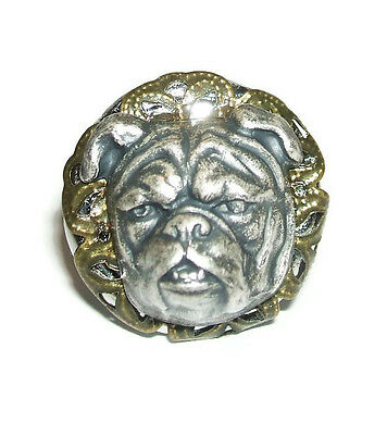 VICTORIAN BULL DOG RING High Relief BullDog Pug Head Silver Plt Adjustable