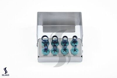 Dental Trephine Drills Kit 8 Pcs Implant Blue Titanium Coated & Bur Holder CE