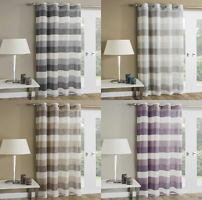 MYKONOS Striped Voile Ready Made Eyelet Ring Top Net Curtain Panel Single