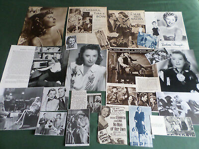 Barbara Stanwyck  - Film Star - Clippings /cutting Pack