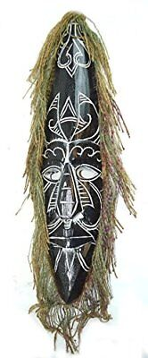 AFRICAN HAND CARVED WOODEN TRIBAL MASK with HAIR WALL DECOR