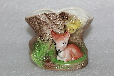 Vintage Eastgate Withernsea Pottery Fauna Posy Vase With Deer & Tree Stump