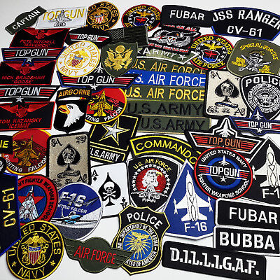 MILITARY PATCH SHOP - Iron-on Patch Collection - Air Force, Army, Navy, Top Gun