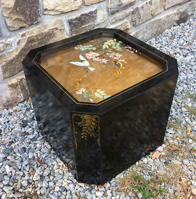 Black lacquer cube table hand painted Chinoiserie style Rein Vanderhill 1984