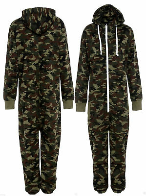 Kids Boy Girl Army Camo Print Hooded Jumpsuit Camouflage All In One Fleece 7-13
