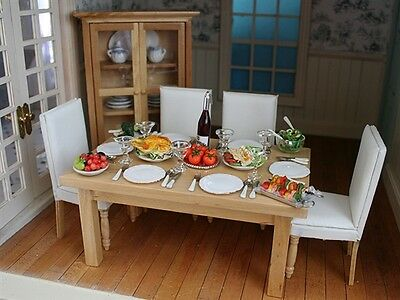 Cream / Wood Dining Room Set,Dolls House Miniatures, 1,12 Scale Room Set