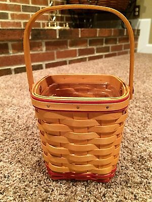 Longaberger Spoon Basket with Swinging Handle and Red Weave