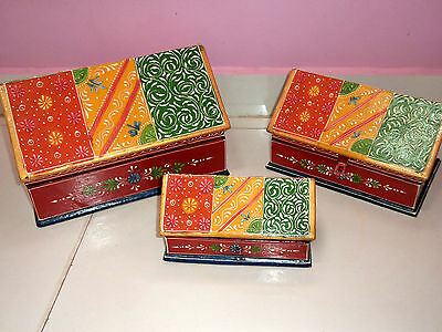 Set of 3 Wooden Handcrafted Painted Emboss Christmas Hut Trunk Chest Box India