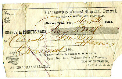 Rare Civil War Union Army Provost Marshal Picket Pass 1864 For Woman Virginia