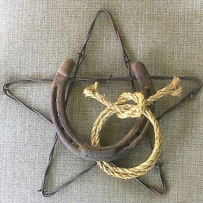 "10"" Rusty Barbed Wire Star with Rusty Horseshoe & Jute Rope Rustic Western Decor"
