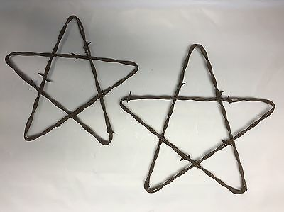 "Rusty Rusted Barbed Wire Stars 7 and 8"" Rustic Western Farmhouse & Ranch Decor"