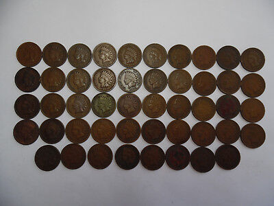 1909 Indian Head Cent - partial roll of 48 coins- Very Good-Very Fine, VG-VF