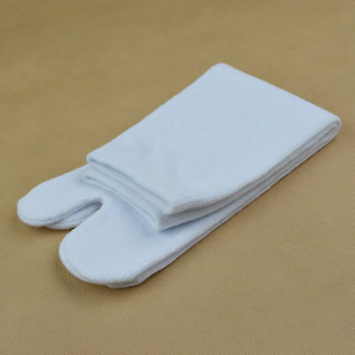 NEW 1 Pair Unisex WHITE Cotton/Lycra Split Toe Tabi Socks for Geta/Zori 28cm max
