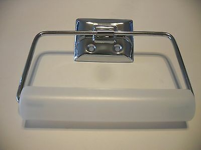 CHROME Toilet Paper Tissue Holder Vintage 50s Style Wire Stirup Easy Roll Change