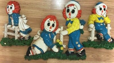 Vintage Raggedy Ann and Andy 3 Piece Wall Plaques 1977 Bobbs Merrill