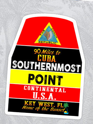 "Key West Florida Vinyl Sticker Cuba Southernmost Point Marker Decal 4"" X 2.9"""