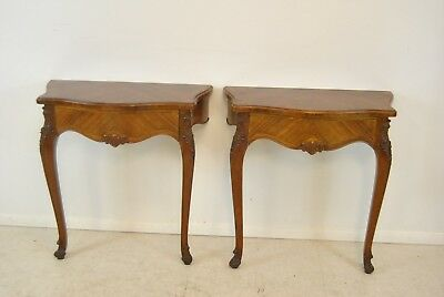 Pair Of Antique French Inlaid Half Hall Tables 1920's