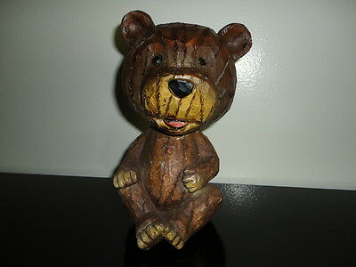 Bear Bobblehead Heavy Solid Wood Statue Hand Carved 7 inch RARE