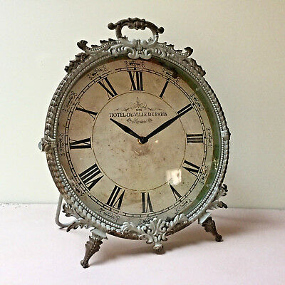 French Grey Antique ChIc Style Ornate Standing Clock Shabby Desk Mantel Distress