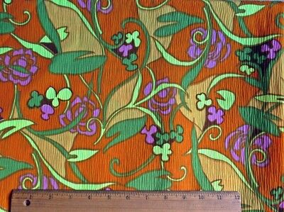 """2.6 Yards Circa Mid Century Psychedelic Orange & Yellow Floral 35"""" Wide  Fabric"""