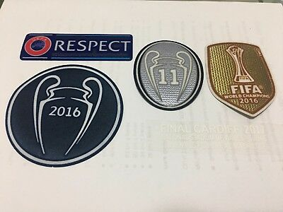 Real Madrid Champions League 2016 Winner Sleeve Patch Set Trophy 11 GRAY Kit
