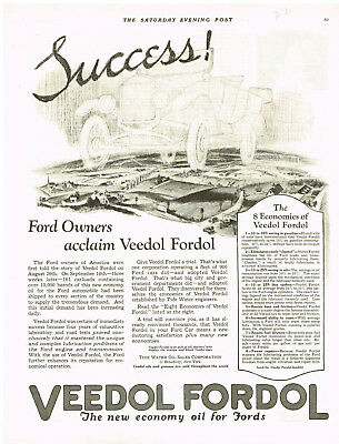 Veedol Fordoil Ford Oil Grease Car Magazine Advertisments Ad Vintage 1922