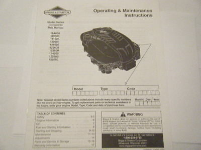 Briggs And Stratton New Operating And Maintenance Manual