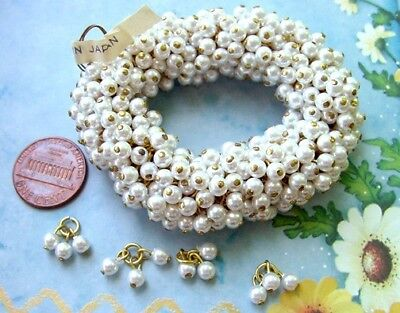 Vintage Hank 4mm Triple Lucite Pearl Beads Charms Japan 144