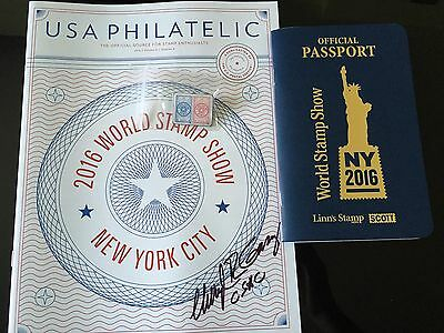 2016 Nyc World Stamp Show Official Passport& *signed* Show Catalog Free Show Pin