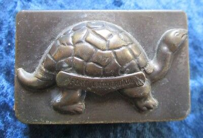 Vintage Brass Match Safe With Turtle From Fort  Lauderdale With CN Match Box