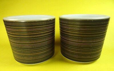 Pyrex Terra No Handle Mugs Dark Brown Gold 13 oz Set of 2