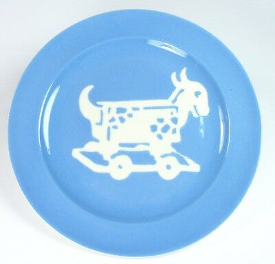 "Harker Pottery Cameoware Child Plate Toy Goat Cart Kiddo 7-1/4"" Intaglio 1940's"